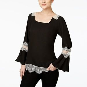 Ny Collection Black Lace-Trim Peasant Blouse
